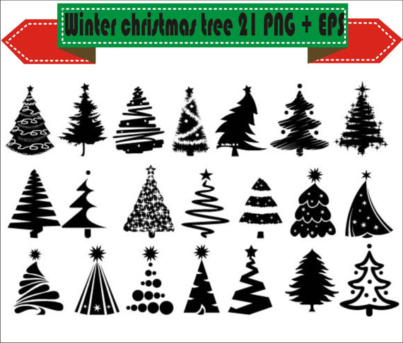 Christmas Tree Winter Party Hollyday Silhouette Vector Clipart PNG.
