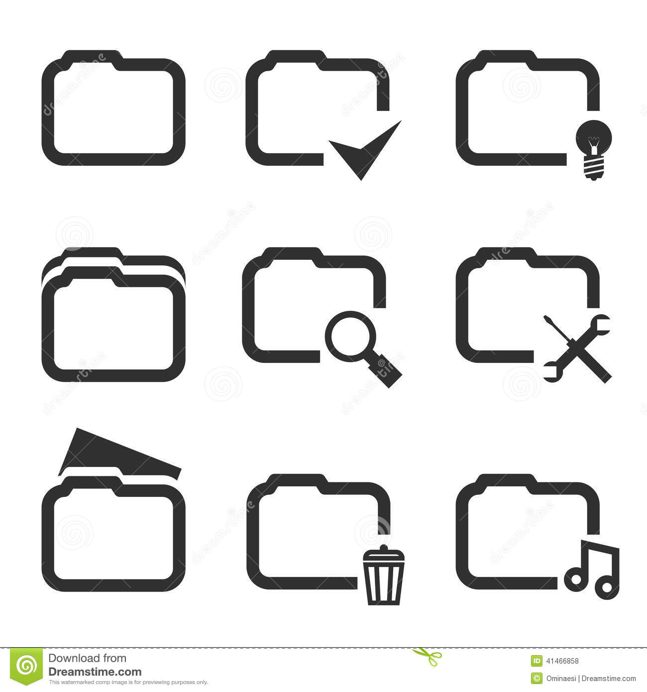 Folder Silhouette Icons Set Isolated On White Stock Vector.