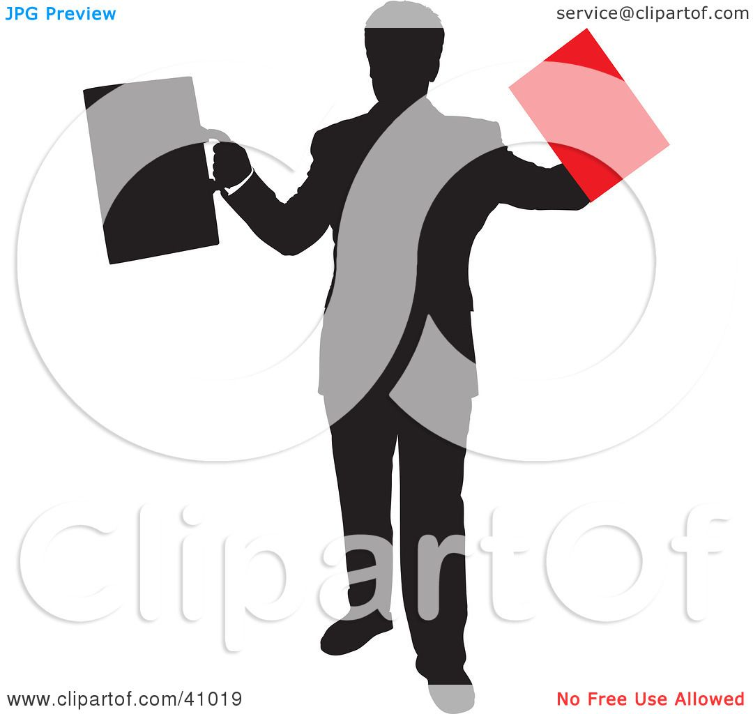Clipart Illustration of a Red And Black Silhouette Of A.