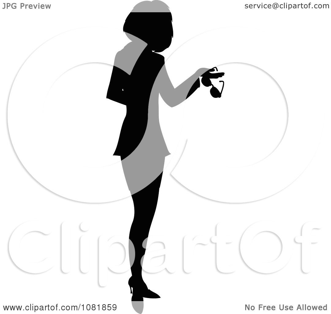 Clipart Silhouetted Businesswoman Or Realtor Holding A Folder And.