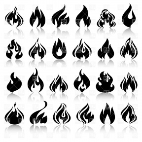 Silhouette Clipart Flame On Pole.