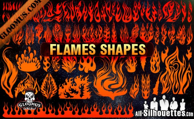 Vector Flame Shapes Silhouettes Vector.