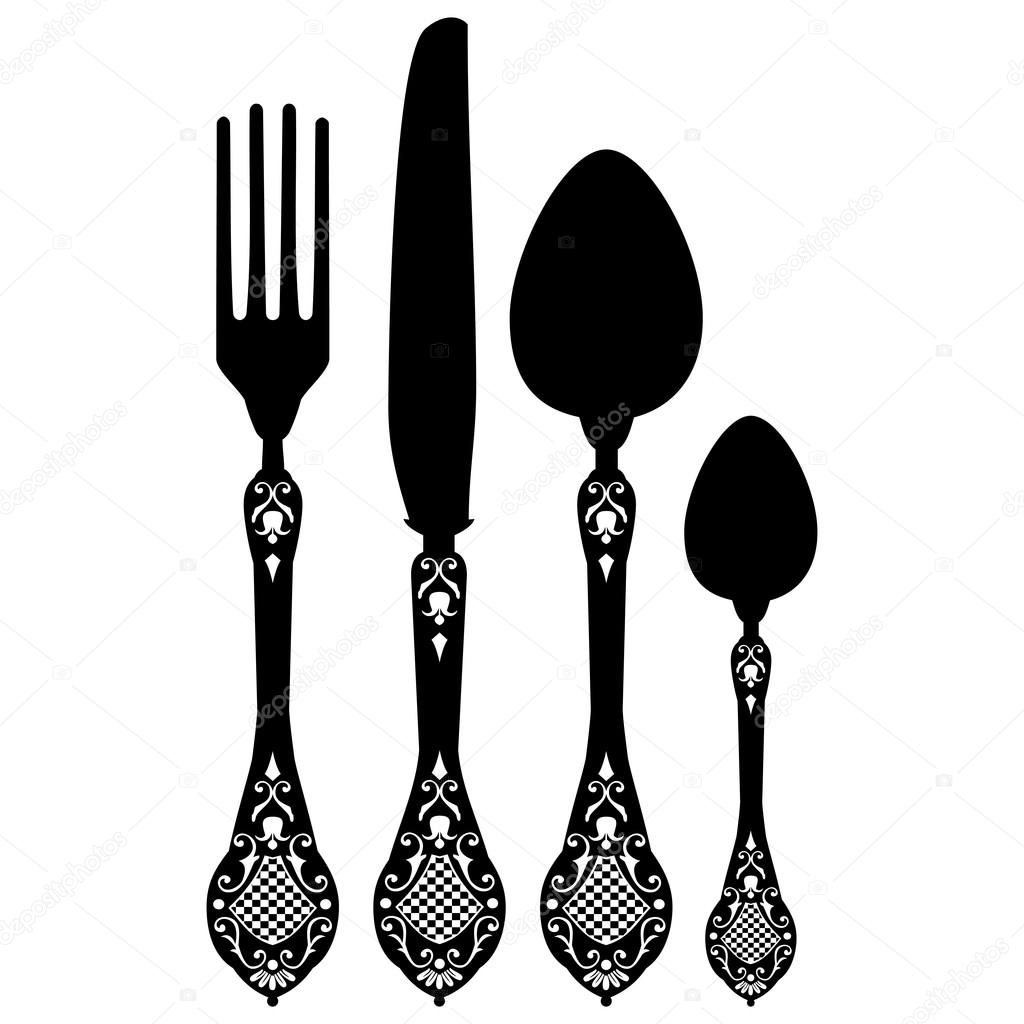 Retro vector silhouette of knife, fork, spoon and spork — Stock.