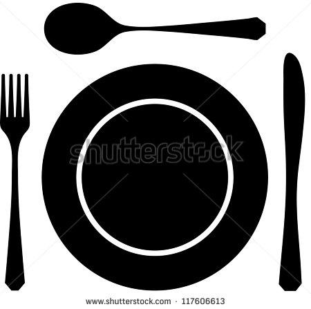 Black Silhouette Knife Fork Spoon Stock Vector 117606613.