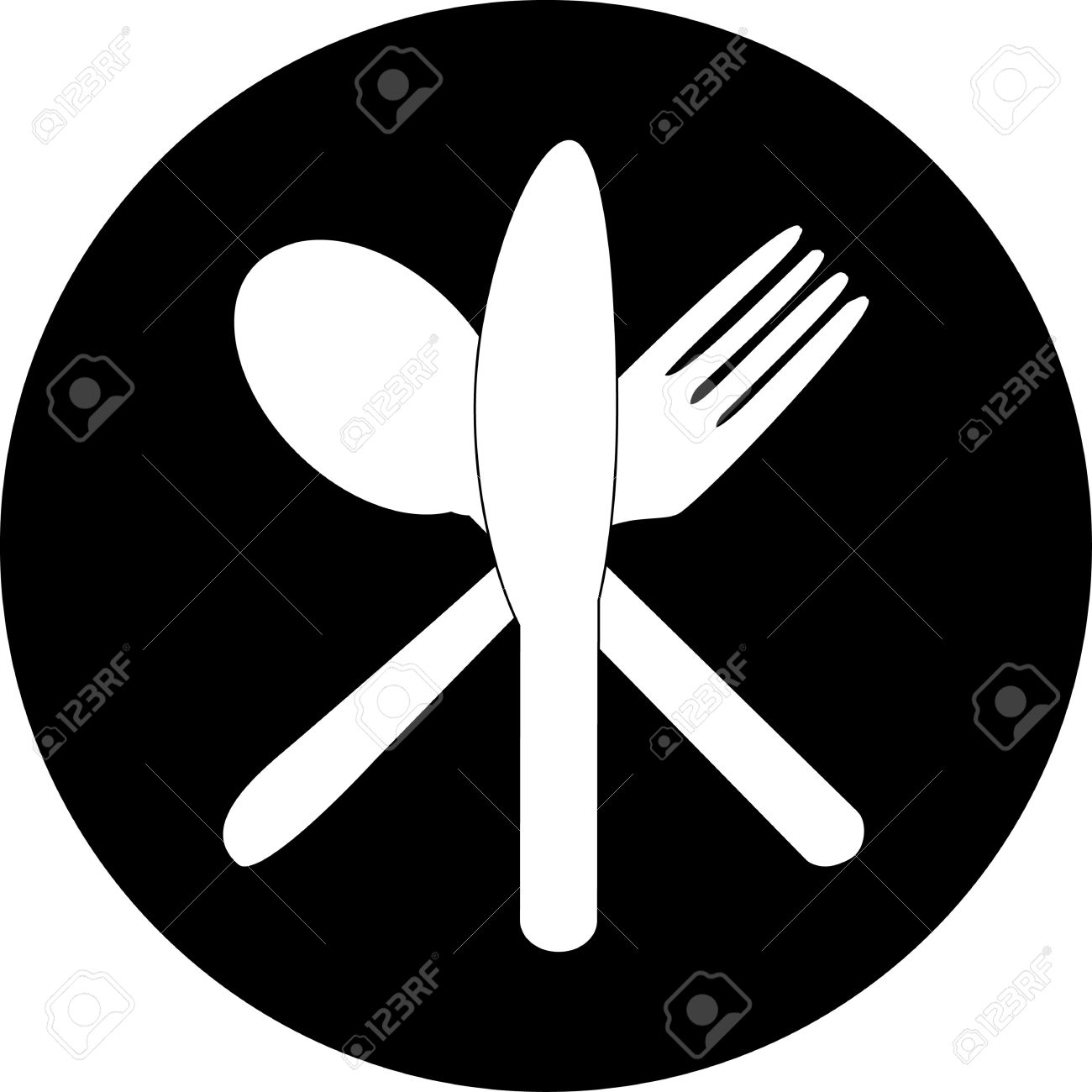 Cutlery Icons Fork, Knife And Spoon Silhouettes Royalty Free.