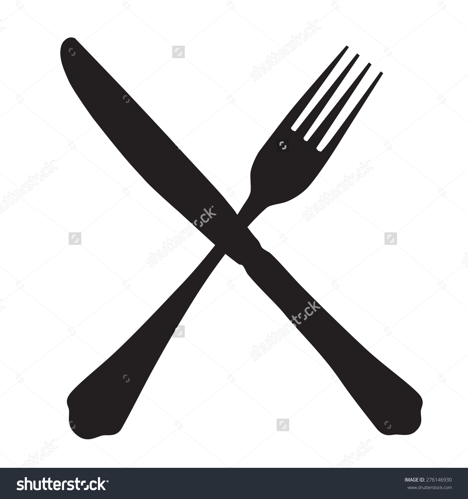 Black Silhouette Crossed Fork Knife Icon Stock Vector 276146930.