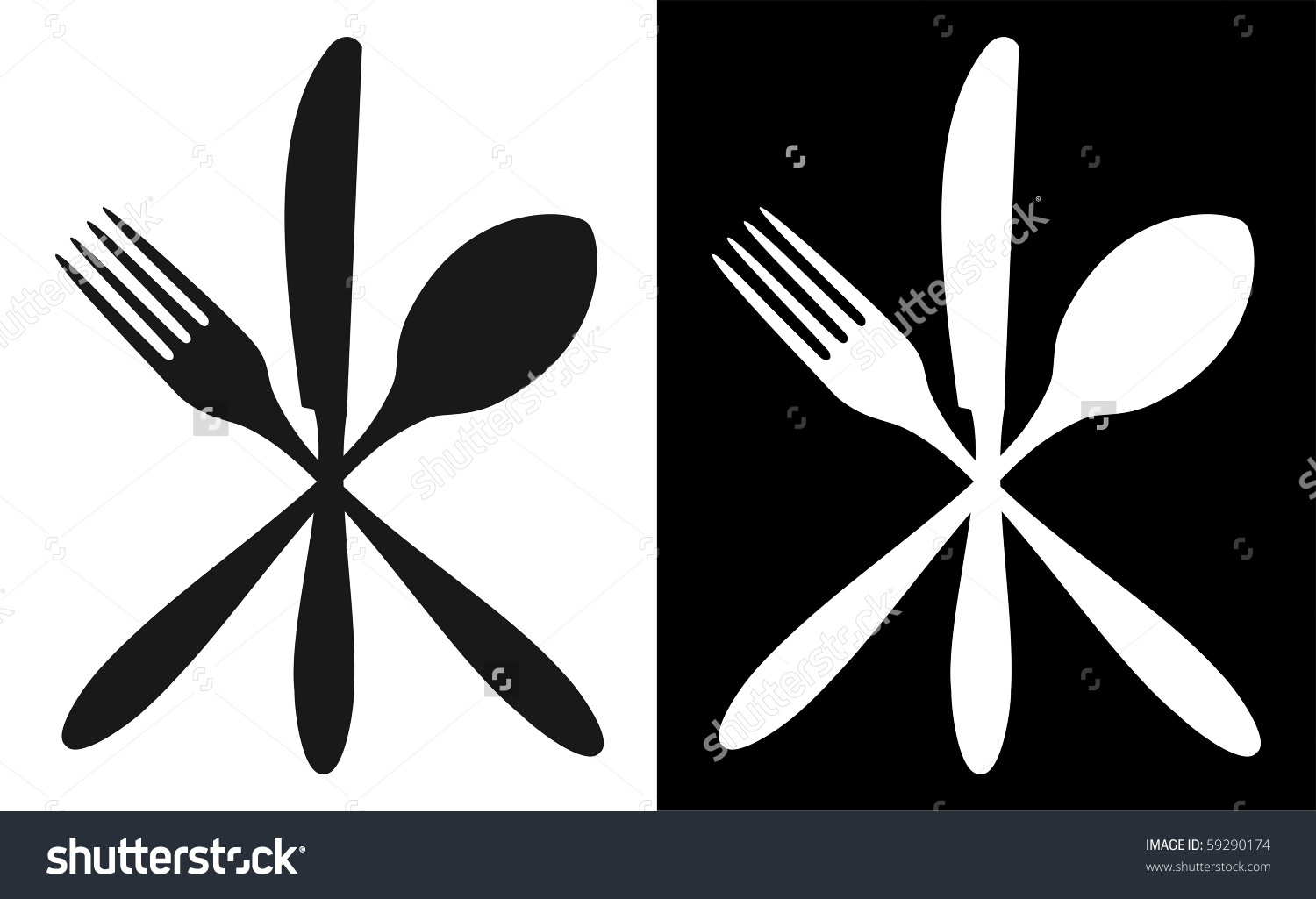 Cutlery Icons Fork Knife Spoon Silhouettes Stock Vector 59290174.