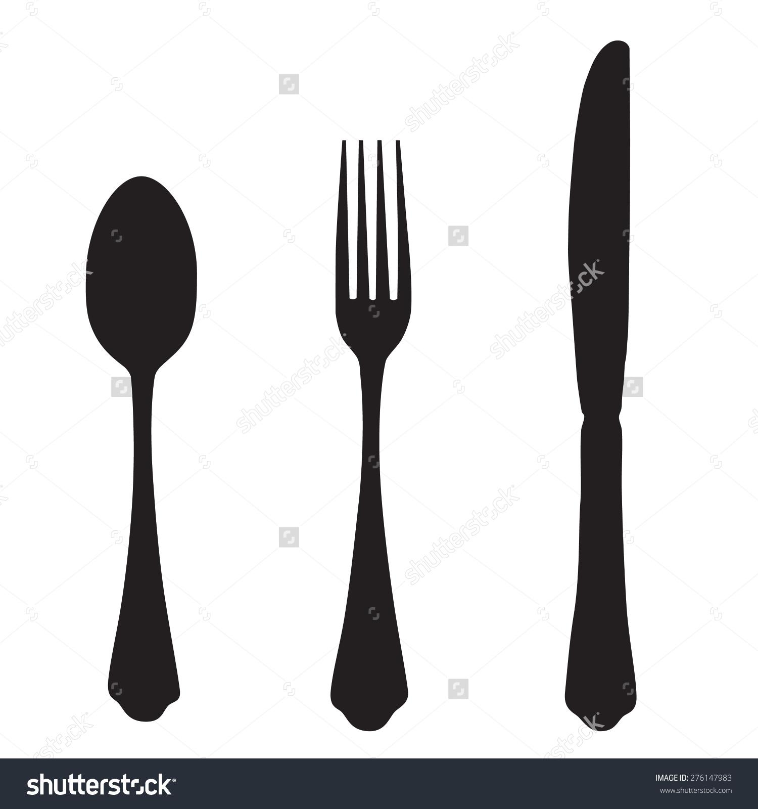 Black Silhouette Fork Knife Spoon Vector Stock Vector 276147983.