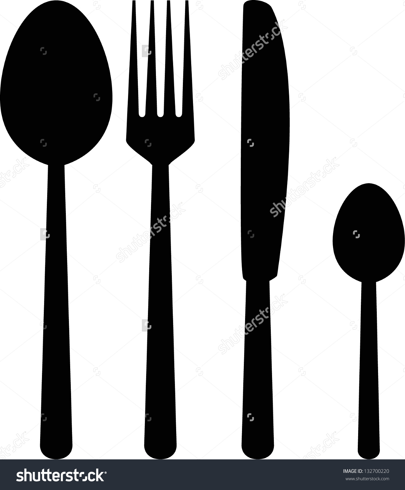 Fork Knife Spoon Silhouette Stock Vector 132700220.