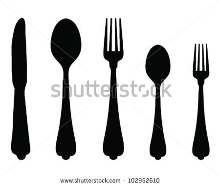 Fork Knife Spoon Silhouette Set Vector Stock Vector 419522341.