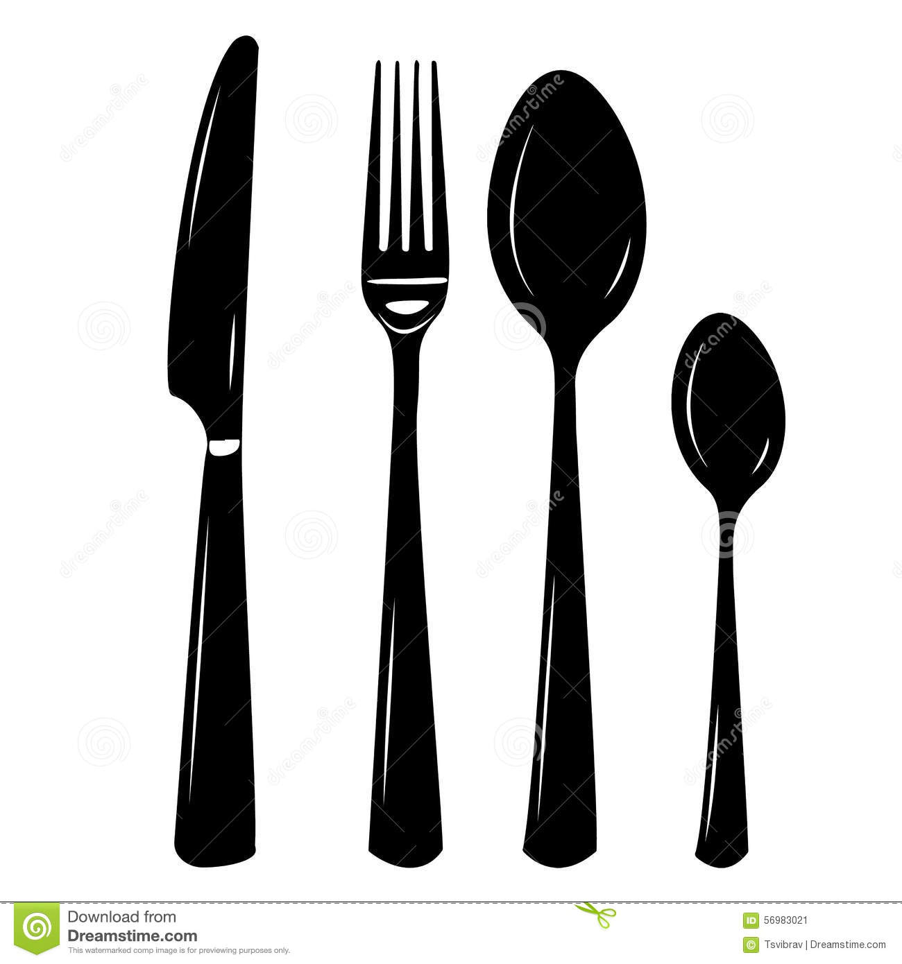 Cutlery Vector Illustration Of Knife, Spoon, Fork, Teaspoon Stock.