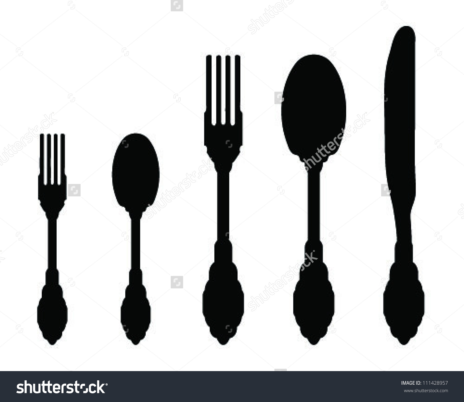 Silhouettes Spoon Fork Knife 2vector Stock Vector 111428957.