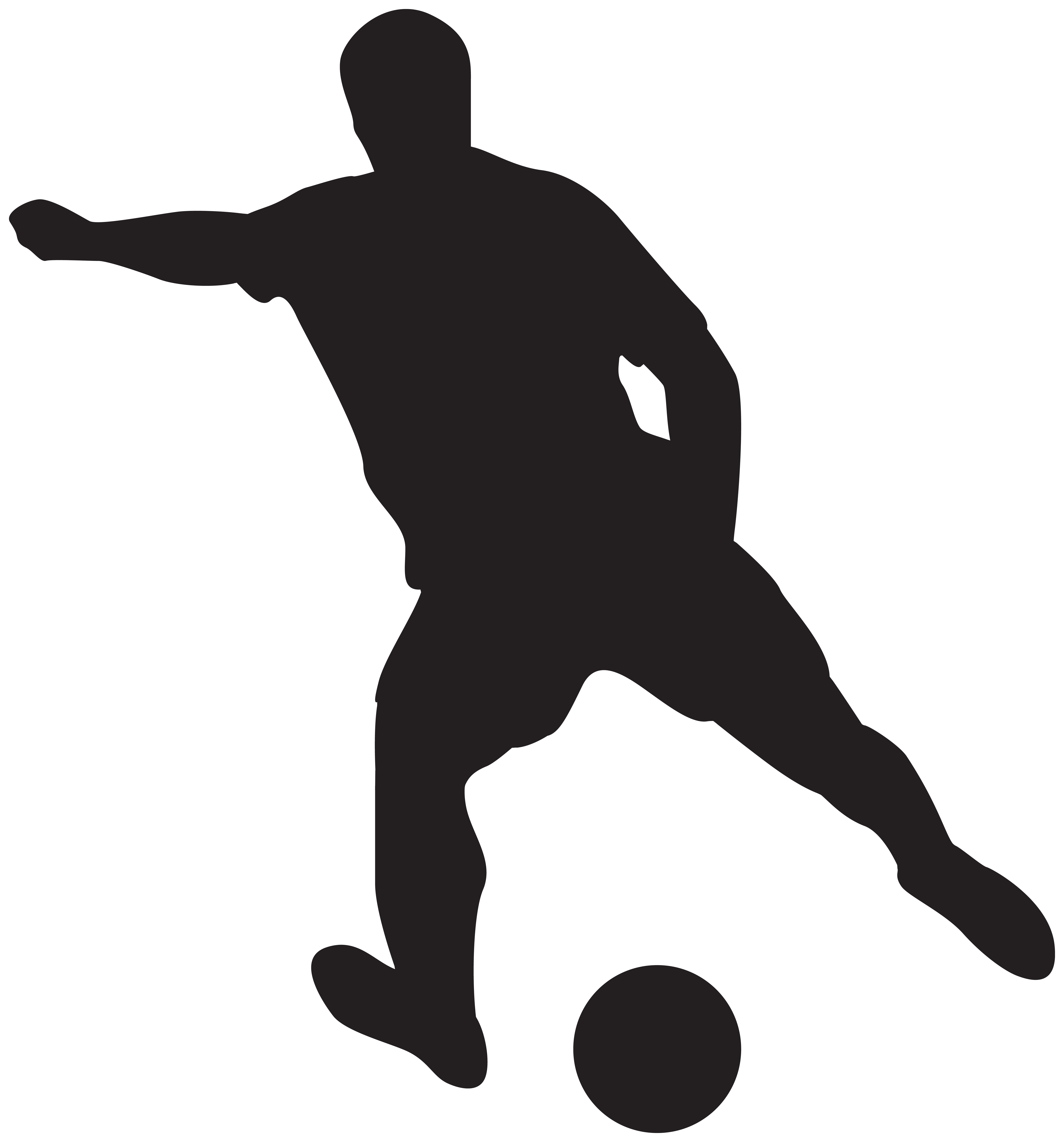 Soccer Player Silhouettes Clipart Image.