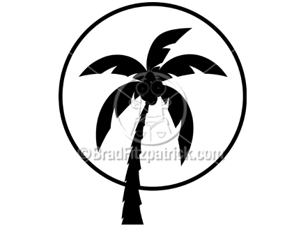 Silhouette Clipart of a Palm Tree.