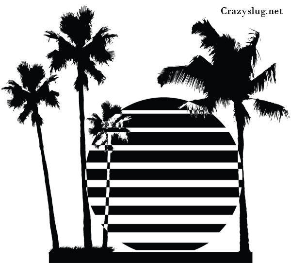 Palm Tree Silhouettes Vector Free.