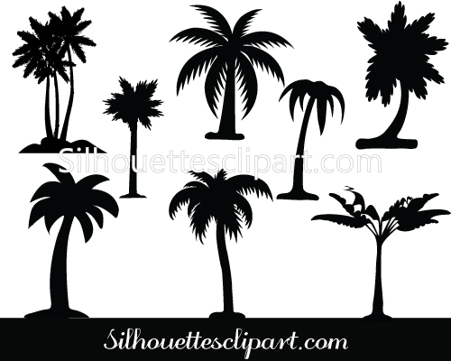 Palm tree silhouette vector pack.