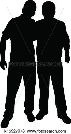 Clip Art of two friends silhouette vector k15927978.