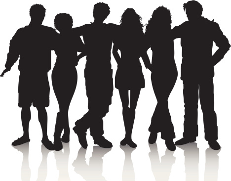 Silhouette Of A Hugging Friends Clip Art, Vector Images.