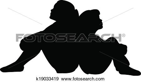 Clip Art of friends together silhouette vector k19033419.