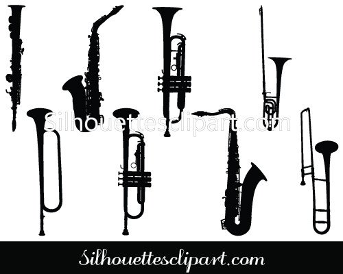 Music Instruments Silhouette Clip Art Download.