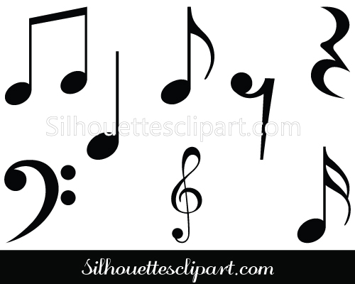Music Notes Symbols Silhouette Musical Notes Clipart.