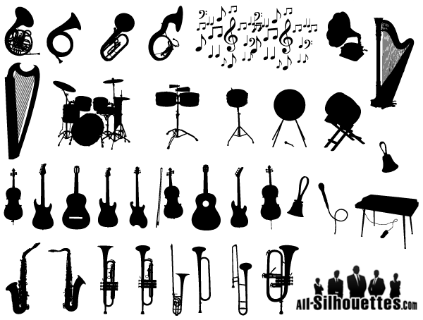 Free Vector Musical Instruments Silhouettes.