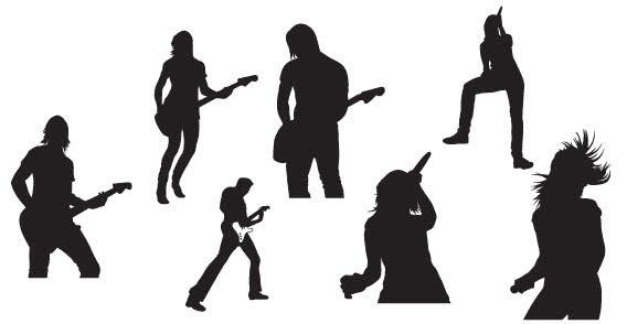 Free Vector Musicians Silhouettes.