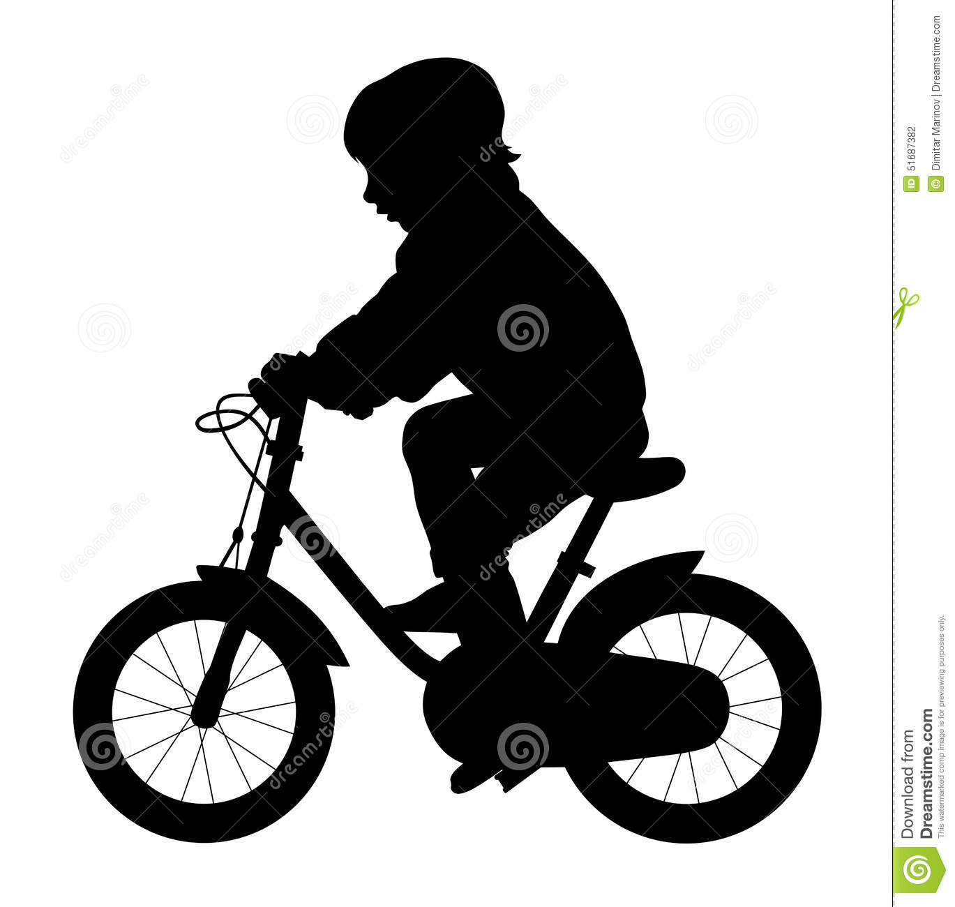 Little Kid Ride A Bike Stock Vector.