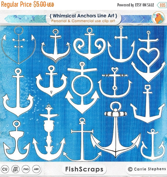 75% SALE Anchor ClipArt Hand.