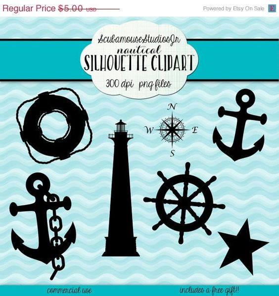 THRU 3/4 Nautical Silhouette Clipart, 300 dpi png files.