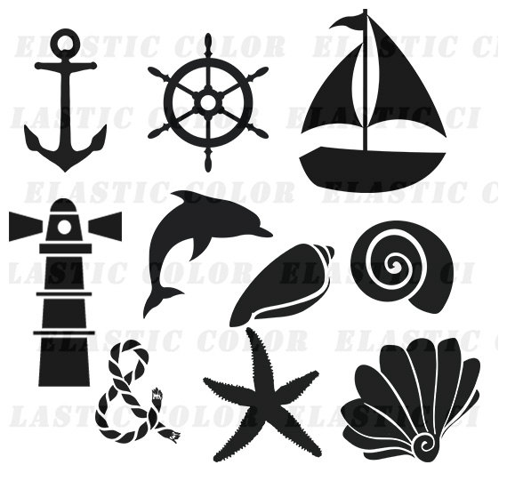 Nautical svg silhouette clipart pack Nautical clip art.