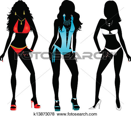 Clip Art of Swimsuit Silhouettes k13873078.