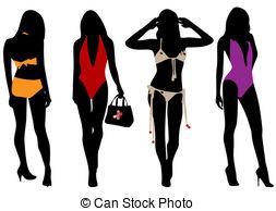 Clipart Vector of Swimsuit silhouette women in bikini.