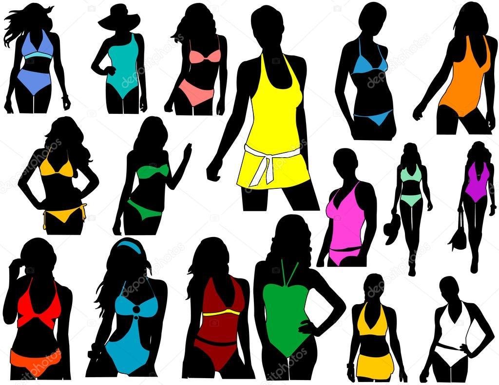 Silhouettes girl in swimwear — Stock Vector © mijo69 #2067393.