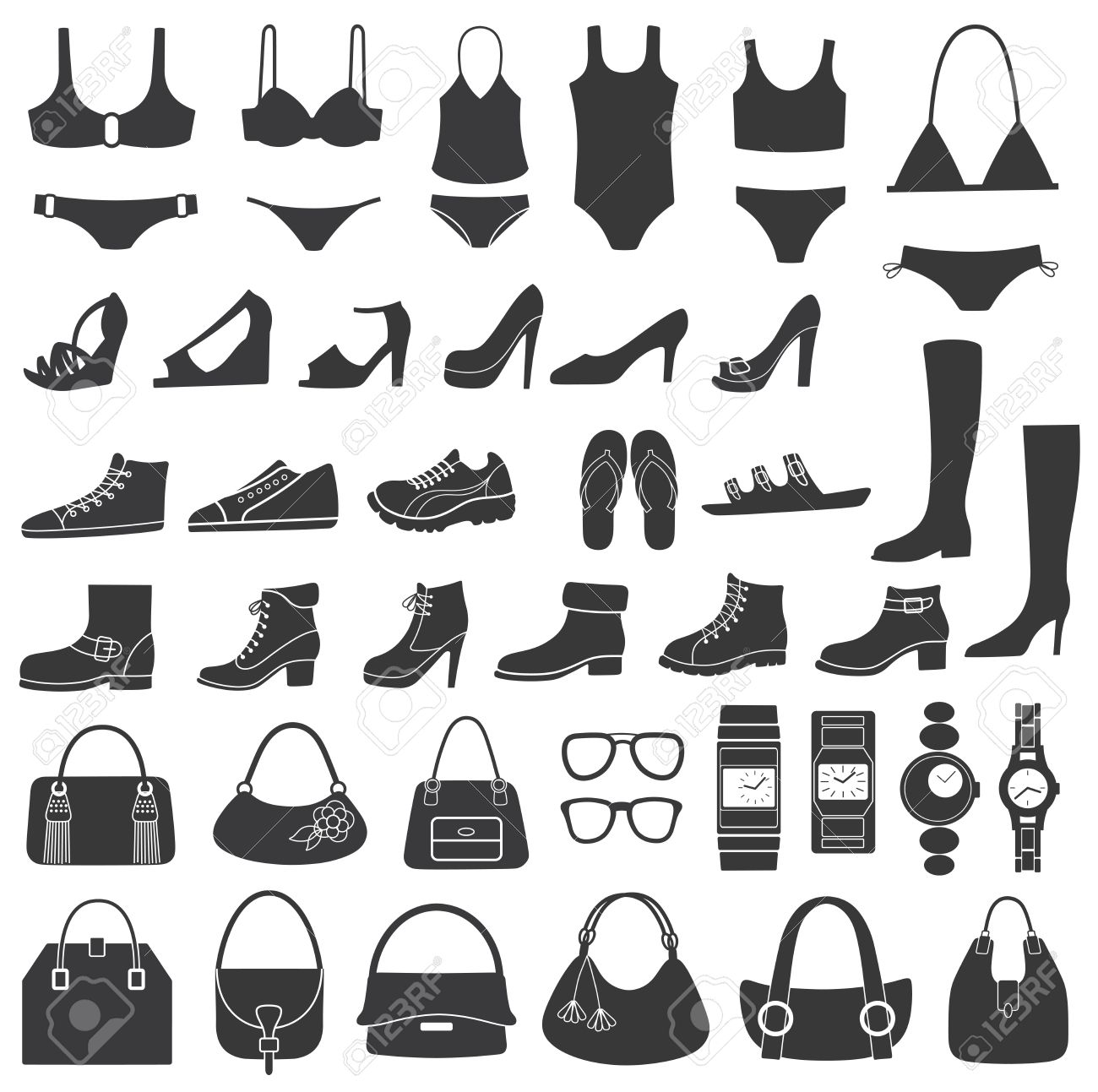 Set Of Vector Silhouettes Shoes, Swimwear And Accessories Icons.