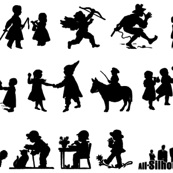 Free Vector Children, Kids, Teens Silhouettes.