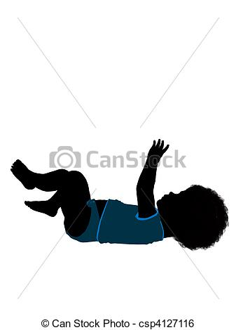 Stock Illustration of African American Male Infant Toddler.