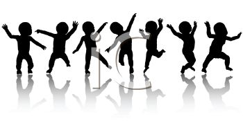 Royalty Free Clip Art Image: Silhouette of Baby's Dancing.