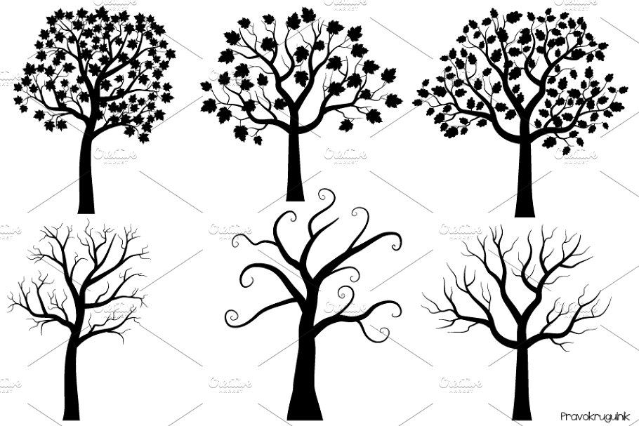 Black tree silhouettes clipart set.