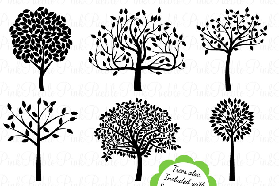 Tree Silhouettes Clipart & Vectors.