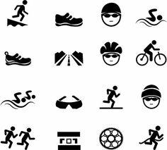 Triathlon logo and icon. Swimming, cycling, running symbols.