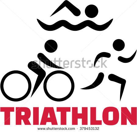 Triathlon symbols with word.
