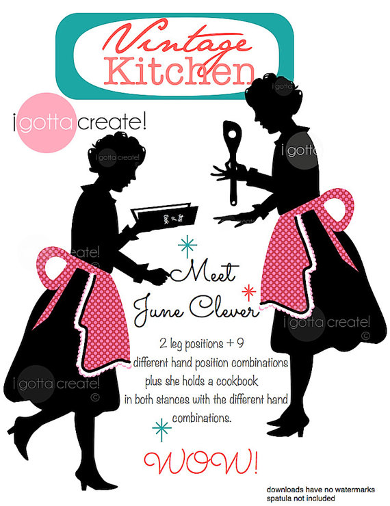 Chef in Apron Vintage Kitchen Clipart Silhouette: Meet June.
