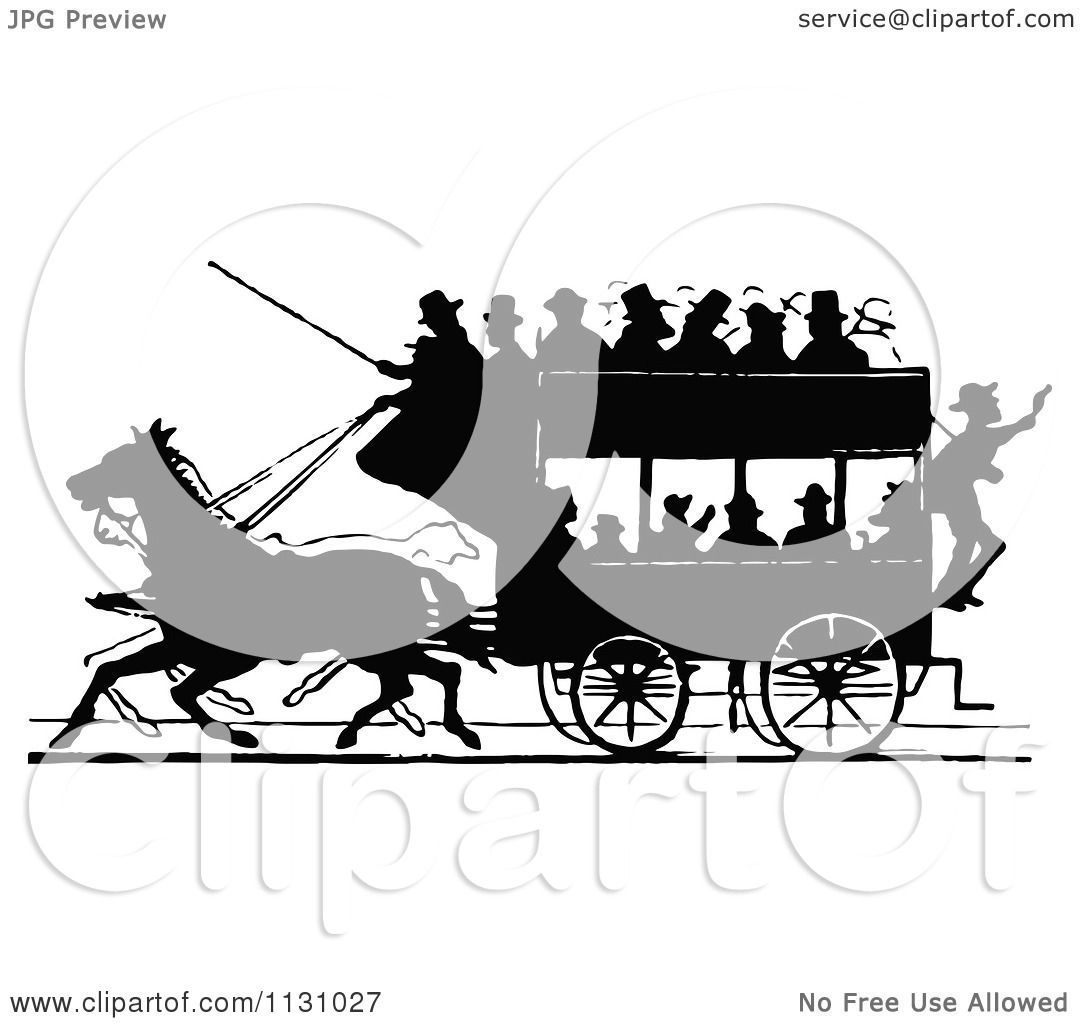 Clipart Of A Retro Vintage Silhouetted Stage Coach And Passengers.