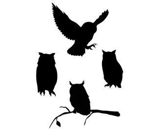 owl silhouette svg dxf file instant download silhouette cameo.