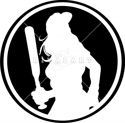 Silhouette Of Woman Softball Player Clipart.