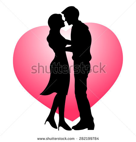 Couple Kissing Silhouette Stock Images, Royalty.