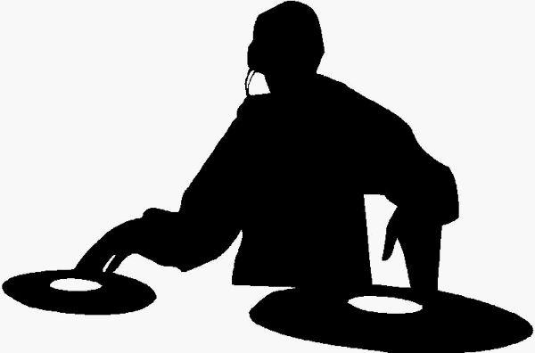 DJ Scratchin Silhouette, Adhesive Decal, Adhesive Sticker, Car.