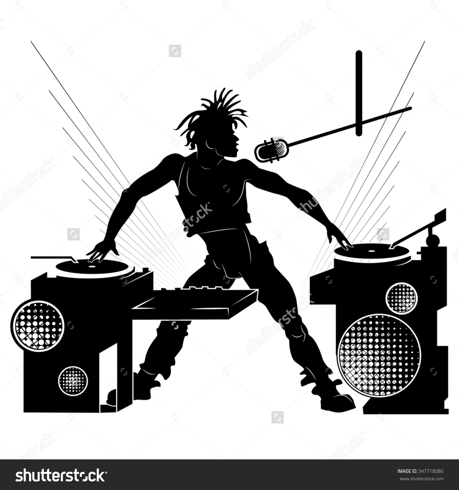 Black Silhouette Dj Party On White Stock Vector 347718086.