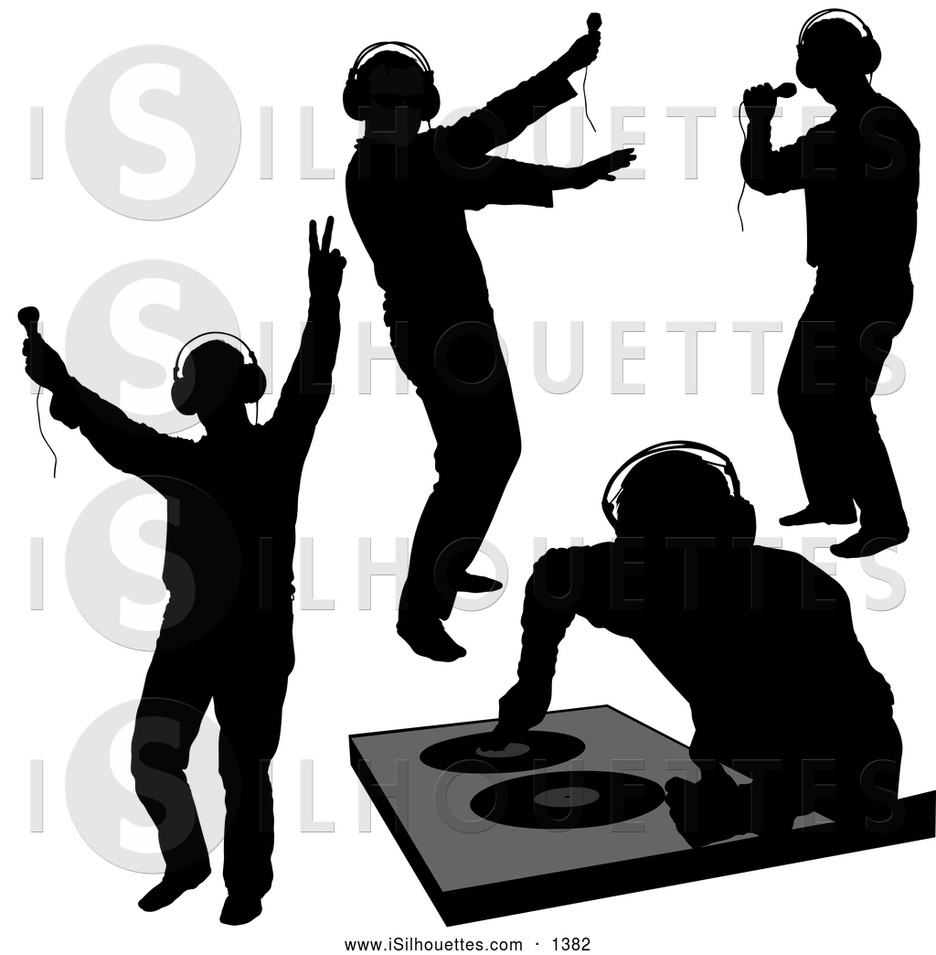Clipart of Black DJ Silhouettes by dero.